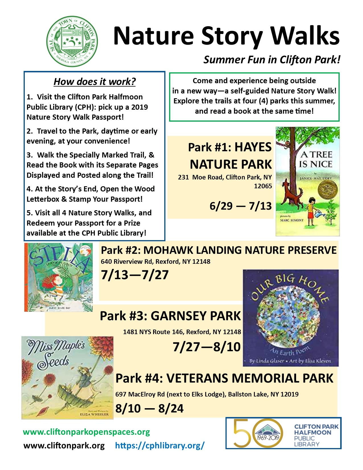2019 Summer Nature Story Walks in CP Final Flyer