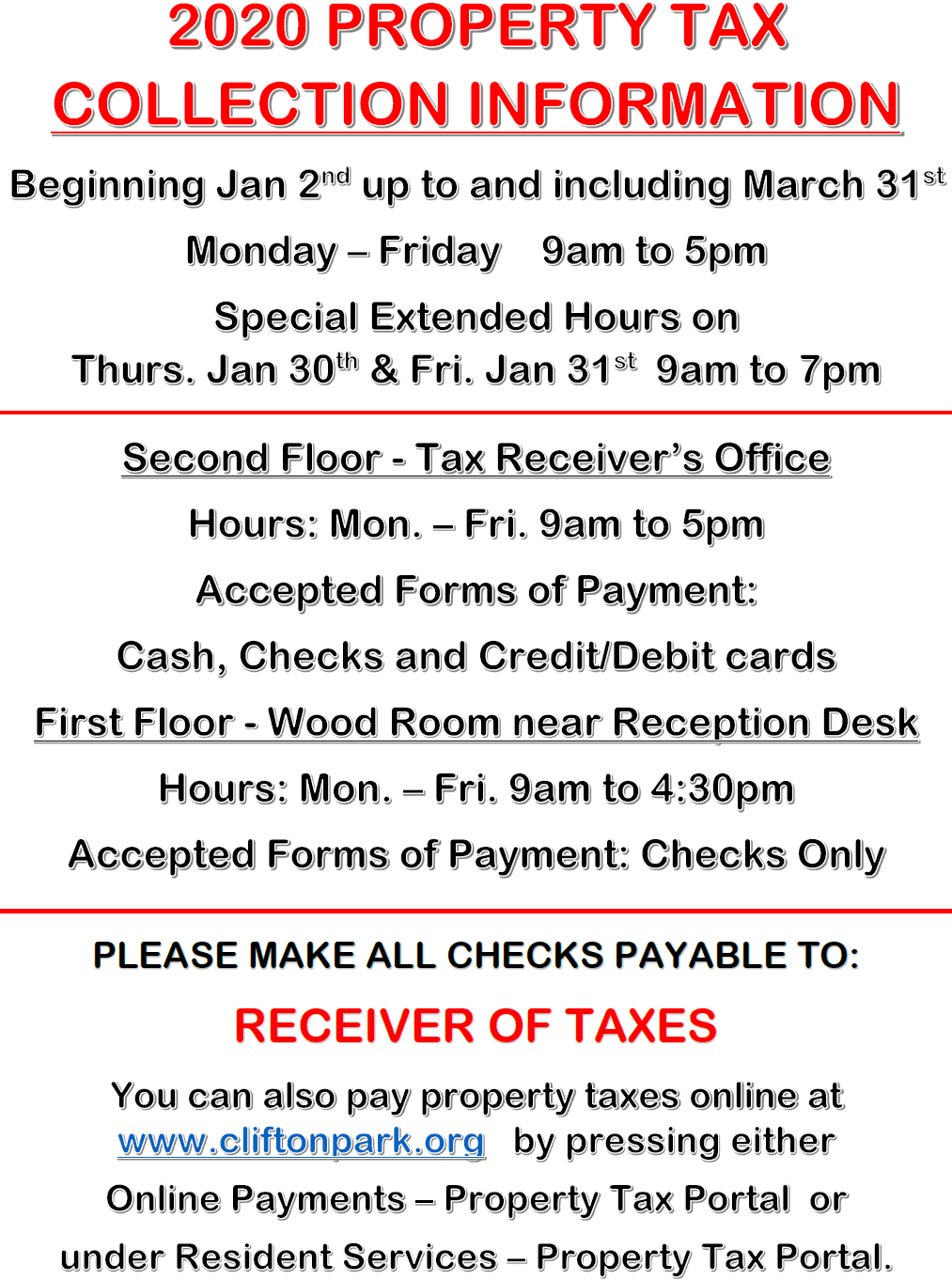 2020 Property Tax Collection Information